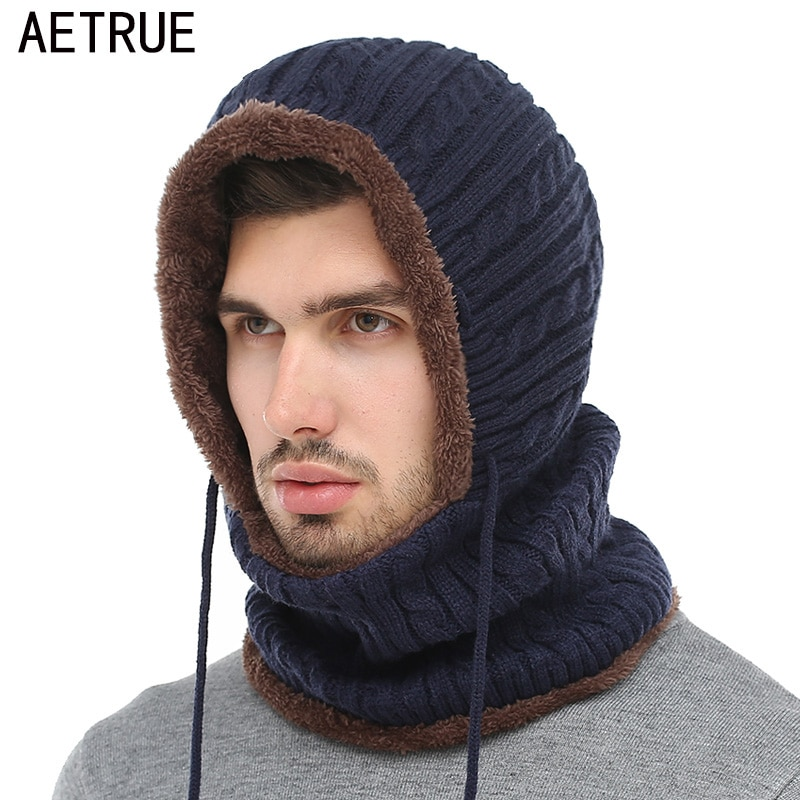 a8e7cdfc355 AETRUE Winter Knitted Hat Beanie Men Scarf Skullies Beanies Winter Hats For  Women Men Caps Gorras