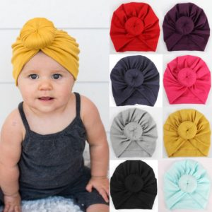 Newborn Infant Kid Baby Girl Toddler Comfy Cotton Solid Turban Bow Knot Beanie Cute Hat Hospital Cap