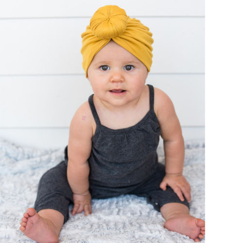 35298b55e8dfc Newborn Infant Kid Baby Girl Toddler Comfy Cotton Solid Turban Bow Knot  Beanie Cute Hat Hospital Cap - VolgoPoint
