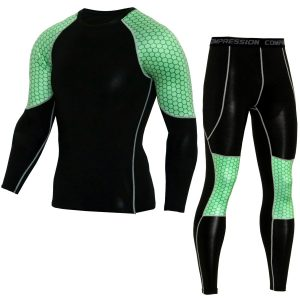 thermal underwear  Men's 2018 Jogging Training T-shirt Set Fitness Sports  compression stretch pants MMA Clothing rash guard