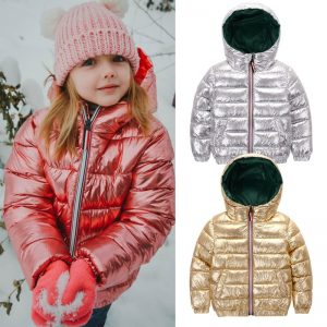 HH Girls winter coat parka kids pink gold silver down jacket for boy teenage winter jackets snowsuit russia jacket 2 8 10 years