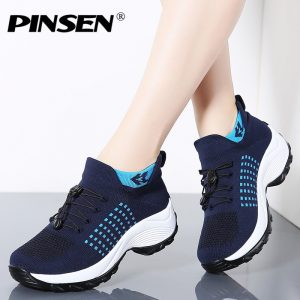 PINSEN 2019 Spring Casual Women Shoes Flats Platform Sneakers Shoes Woman Slip-on Breathable Ladies Boat Shoes zapatillas mujer