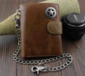Men's Cool Genuine Leather Biker Texas Star Zipper Card /Money Chain wallet Purse W222