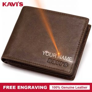 KAVIS Free Engraved Genuine Leather Wallet Men Coin Purse Gift For Male Purse PORTFOLIO Money Pocket Perse Walet Any DIY Name