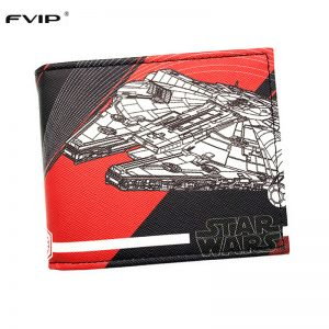 FVIP Men's Short Wallet Star Wars Coin Purse TIE Tnterceptor Millennium Falcon Print Cool Wallets Free Shipping