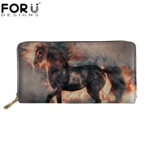 FORUDESIGNS Crazy Horse 3D Pattern Wallet for Women Men Cool Animal Long Leather Wallets Ladies Luxury PU Purse Travel Money Bag