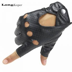 LongKeeper New Women's Gloves Fingerless Leather Glove Cut off Black Mittens Dancing Show Half Finger Gloves For Women A222