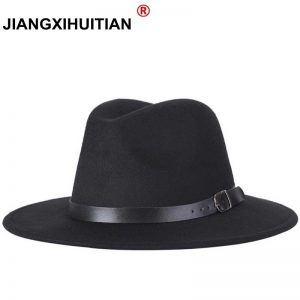 free shipping 2019 new Fashion men fedoras women's fashion jazz hat summer spring black woolen blend cap outdoor casual hat