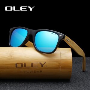 afbcfba8948 OLEY Brand Bamboo Leg Polarized Sunglasses men Classic Square goggle  Fashion Retro Female sun glasses Customizable