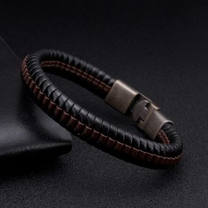 Vintage Braided Leather Charm Bracelets Men Male Sporty Jewelry Punk Snake Stripe Chain Link Cuff Bracelets ancient Bangles