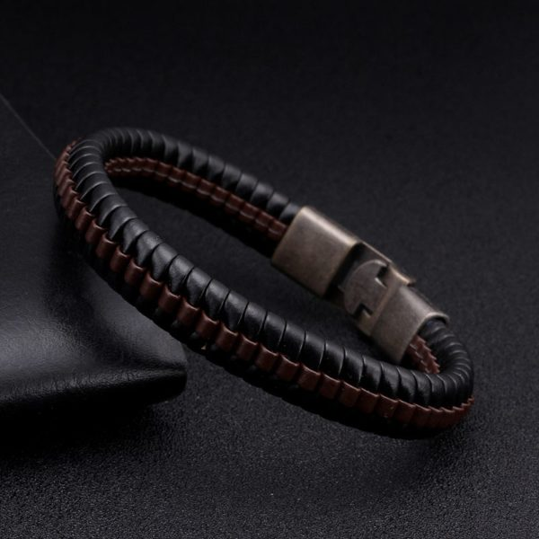 331f3a3ffc690 Vintage Braided Leather Charm Bracelets Men Male Sporty Jewelry Punk Snake  Stripe Chain Link Cuff Bracelets ancient Bangles - VolgoPoint