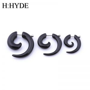 H:HYDE 1pc men women spiral ear taper snail ear expanders piercing black body jewelry faux ear plug tunnel pircing septum tragus