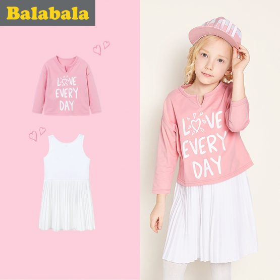 balabala Girls Dress Children 2018 Autumn Doll Collar Princess Dresses For Girls Fashion Cotton Dress & long sleeve tshirt