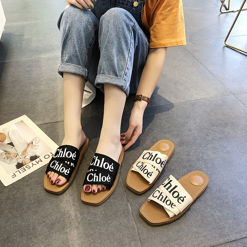 Non-slip Home Slippers Womens Shoes Summer Fashion Lips Outside Flat Footwear