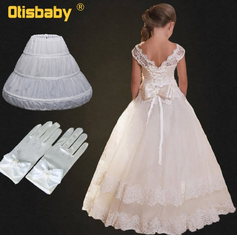 Summer 2019 Fomal Gown Children Lace Flower Fancy Girls Dresses Teenage Party Ball Gown Kids Wedding Evening Prom Long Dresses Volgopoint