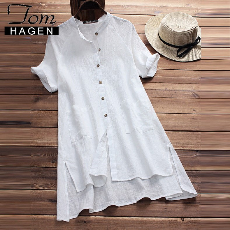 Tom Hagen Summer Linen Dress Women Loose White Beach Dress Cotton Boho  Ladies Linen Dresses Plus Size Women Elegent A-line Dress - VolgoPoint