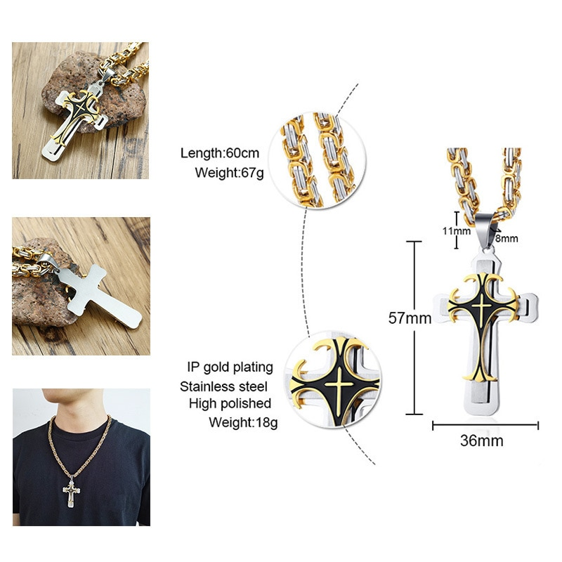 By Photo Congress || Catholic Cross Necklace Mens Gold
