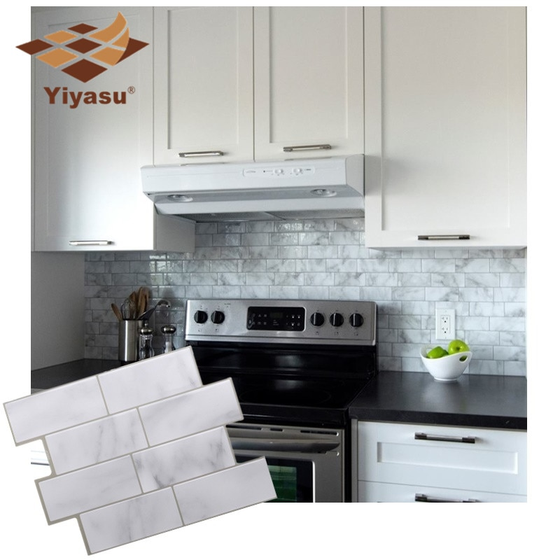 White Grey Marble Mosaic Brick Peel and Stick Wall Tile Self adhesive  Backsplash DIY Kitchen Bathroom Home Wall Sticker Vinyl 3D - VolgoPoint