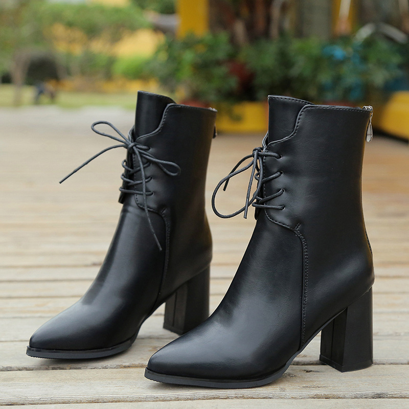 Botines Mujer Black Soft Leather Pants Boots Long Boots Rihanna Style Over The Knee For Women Shoes Pointed Toe High Heels Knee High Boots Riding