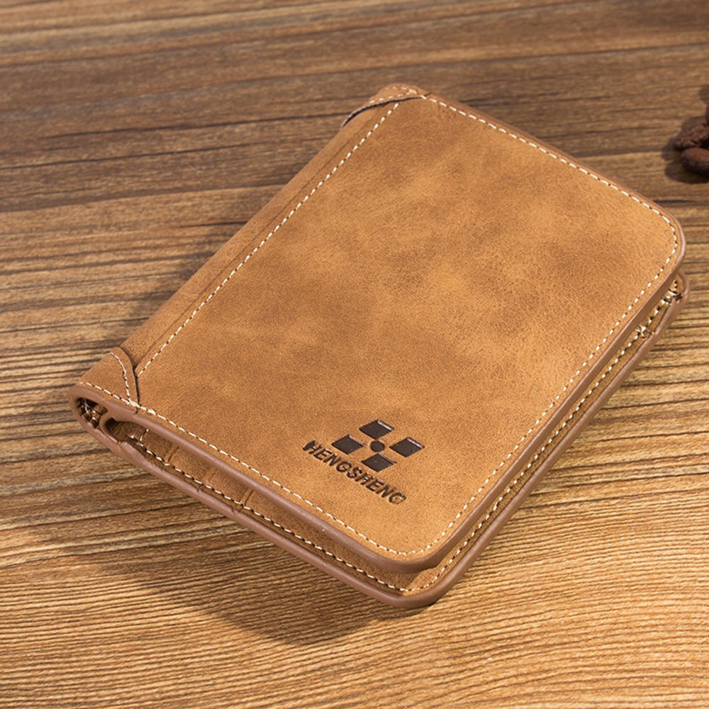 Men's Wallet Leather Billfold Slim Hipster Cowhide Credit Card/ID Holders Inserts Coin Purses Luxury Business Foldable Wallet