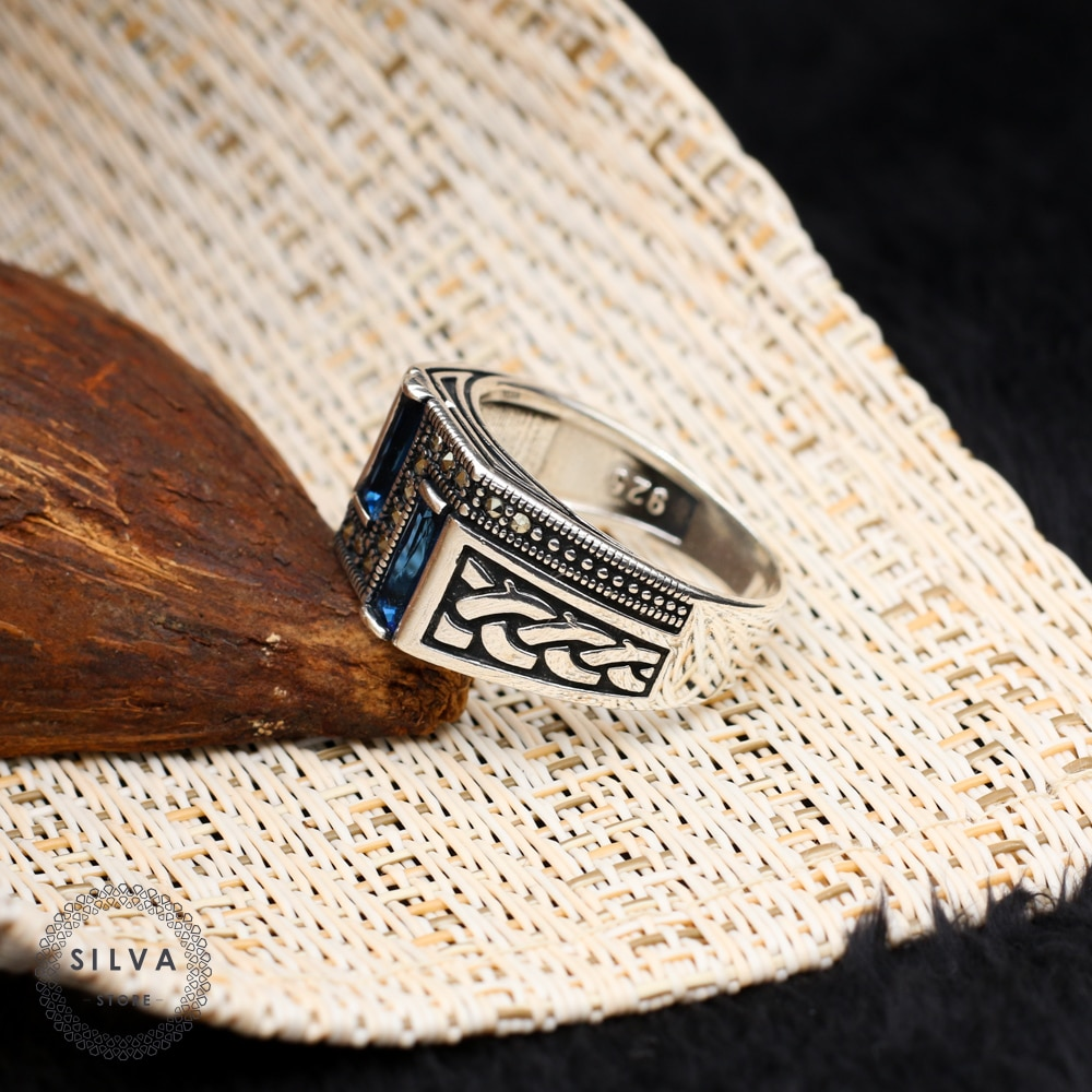 925 silver men's ring. Men's jewelry stone stamped with silver stamp 925 All sizes are available