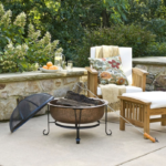 Fire Pit with Spark Guard Cover and Stand 2