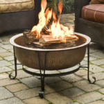 Fire Pit with Spark Guard Cover and Stand 3