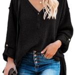 Long Sleeve Tunic Tops Button Front Loose Oversized V Neck-1