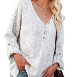 Long Sleeve Tunic Tops Button Front Loose Oversized V Neck-2