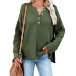 Long Sleeve Tunic Tops Button Front Loose Oversized V Neck.png