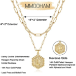M MOOHAM Dainty Layered Initial Necklaces for Women-4