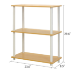 White and Beech Finish 3-Tier Bookcase 2