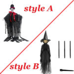 Halloween Decor 1.7m Light-Up Witches with Stakes-1