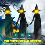 Halloween Decor 1.7m Light-Up Witches with Stakes-2