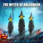 Halloween Decor 1.7m Light-Up Witches with Stakes-5