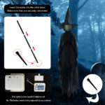 Halloween Decor 1.7m Light-Up Witches with Stakes-6