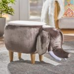 Rosie Velvet Elephant Ottoman by Christopher Knight Home – Taupe-1