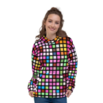 Womens Colorful Cube Style Pullover Hoodie 1